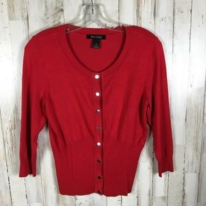 WHBM Red Button Down Cardigan Sweater S Cover